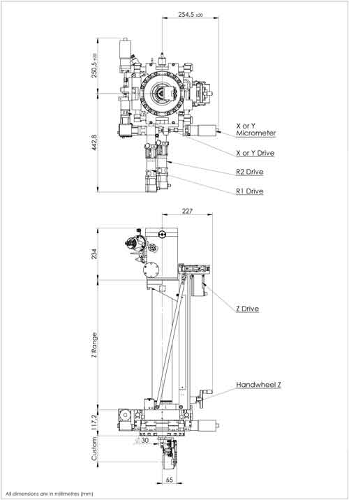 Henniker Scientific UHV Sample Manipulators Schematic